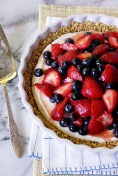 Summer Berry No-Bake Greek Yogurt Pie with a Granola Cashew Crust