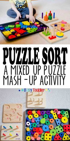 PUZZLE SORT: A mixed up puzzle mash-up activity that's perfect for toddlers! Toddler Play, Toddler Learning, Play Based Learning, Preschool Learning, Toddler Preschool, Learning Activities, Preschool Centers, Teaching Kindergarten, Family Activities