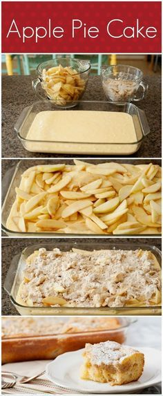 Apple Pie Cake Topping; 1cup flour, 1/2 cup packed brown sugar, 1/4 teaspoon salt, 1/2 cup butter,cut into small pieces.  Filling; 6 apples peeled, thinly sliced, 3tbsp packed brown sugar, 1tsp ground cinnamon, 2tsp lemon juice.  Cake; 1 box Betty crocker super moist yellow cake mix, 1 1/3 cups wate