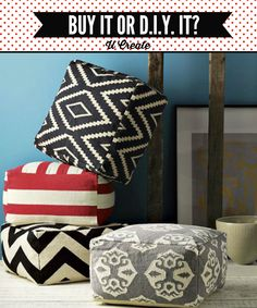 Buy It or DIY It? Pouf edition! How much it costs, time to make, etc.! u-createcrafts.com