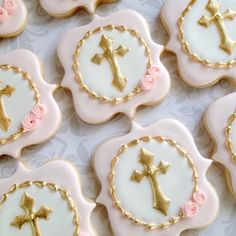 Elegant pastel Pink And Gold Cross Baptismal Cookies - One Dozen Decorated Sugar Cookies Baby Cookies, Easter Cookies, Cupcake Cookies, Sugar Cookies, Bolacha Cookies, Christening Cookies, Cross Cookies, First Communion Cakes, Confirmation Cakes