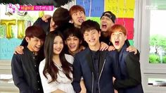"Joy and Sungjae with the other members of BTOB taking a silly ""wedding photo"" ^-^"