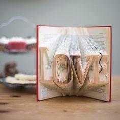 LOVE Folded Upcycled Book Art Sculpture door TheFoldedPageShop, £50.00