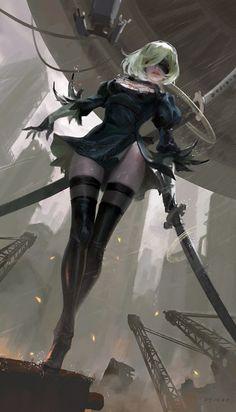 The amazing digital art(automata) Fantasy Characters, Female Characters, Anime Characters, Manga Art, Manga Anime, Anime Art, Neir Automata, Kaiser, Video Game Art