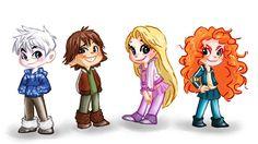 Jack Frost, Hiccup, Rapunzel, Merida