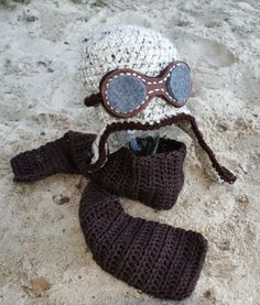 Crochet+Baby+Aviator+Hat+with+Goggles+and+by+KnotNecessarilySew,+$35.00