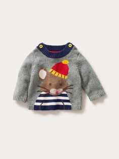 "Baby Boden Logo Sweater: ""Lovely light-hearted logos on our soft, machine washable yarn, with a touch of cashmere for extra softness. Did we say this is a soft jumper? Because it is. Soft."" #NewBritish"