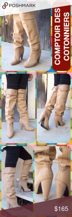 """Beige Almond Toe Knee High Platform Boots Size 8 Gorgeous designer knee-high leather boots from Comptoir des Cotonniers in a beige/ tan color with almond toe. These boots are soft and supple with normal patina along the cuffs and along the back seams. Can be worn high over the knee or cuffed (as shown). Faint scuffs on the heels (see pics) but no major wear. Comes with original dust bag. Euro Size 38 (size 8 in the USA). 4.75"""" heel with 0.75"""" platform lift. Made in Romania. Beautiful boots…"""