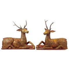 Pair of Burmese Gilt Teakwood with Glass Inlay Deer