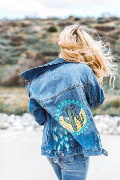Cactus Love - Hand Painted Denim Jacket