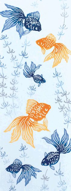 水草に金魚 もっと見る Japanese Textiles, Japanese Patterns, Japanese Fabric, Japanese Prints, Japanese Design, Ceramic Painting, Silk Painting, Drawn Fish, Batik Pattern