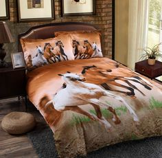 ENCOFT Galloping Horse Bedding Sets Full Size for Teen Kids Duvet Cover Set with Flat Sheet Full Polyester 4 Duvet Cover Flat Pillow Cacses,No Comforter(Full) 3d Bedding Sets, Queen Bedding Sets, Luxury Bedding Sets, Modern Bedding, Bed Covers, Duvet Cover Sets, Comforter Cover, Bed Sheet Sets, Bed Sheets