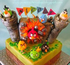 ANGRY BIRD CASTLE CAKE @Michelle McKechnie Damron (FROSTING ~ Cakes & Cookies)