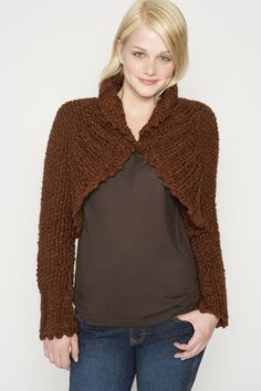 Try this Homespun knit shrug with picot edging for when you want something frilly.