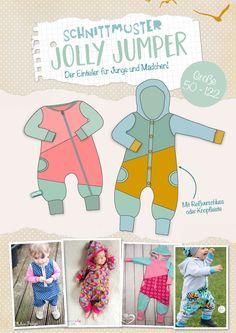 """""""Jolly Jumper"""" ist ein Einteiler für Jungs und Mädchen, der als Draußenanzug genauso wie als Schlafanzug genäht werden kann. Aus Jersey und Sweat ist es ein toller Kuschelanzug. Und aus Softshell oder Wollwalk perfekt für draußen. Mit den Teilungen lassen sich Stoffe cool kombinieren!  Das E-Book enthält reich bebilderte Nähanleitungen zu einem Anzug mit Reißverschluss (gerade oder schräg) oder zu einem Kuschelanzug mit Knopfleiste. Das Schnittmuster ist wie immer inkl. Nahtzugabe...."""