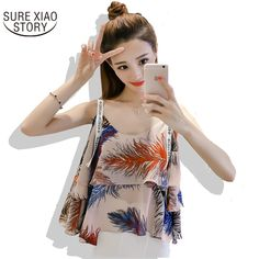 >> Click to Buy << 2017 Summer New Arrivals Korean Print Camis Sexy and Fashion Women Tops Female Blouse Hot Lotus Leaf Chiffon Shirt Vest 69J 30 #Affiliate