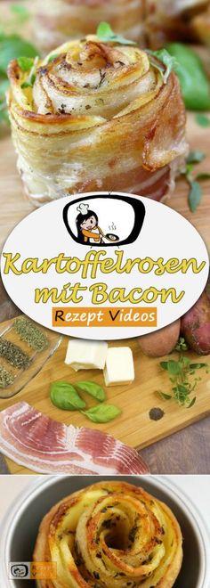 Kartoffelrosen mit Bacon, Rezeptvideos, Bacon Rezept, einfache Rezepte, Mittagessen Rezept, leckere Rezepte