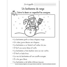 Le bonhomme de neige, 1re année French Teaching Resources, Teaching French, Teaching Tools, Language Activities, Reading Activities, Classroom Activities, Amelie Pepin, Grade 1 Reading, French Worksheets