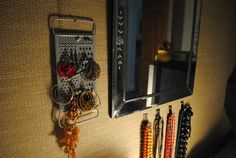 Vintage cheese grater turned earring organizer