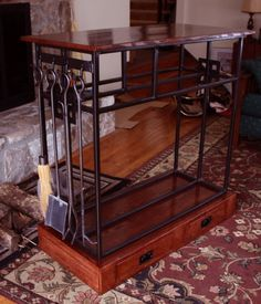 Wood Rack for the living room idea, welded and wood put together to create this.