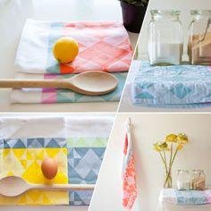 Geometric Tea Towels / PaperCookie via @jchongstudio...Very pretty tea towels!
