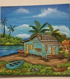 Fantasy Landscape, Landscape Art, Landscape Paintings, Nature Paintings, Beautiful Paintings, Cenas Do Interior, Caribbean Art, Tropical Art, Beach Art