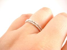 Silver Stackable Rings Beaded Silver