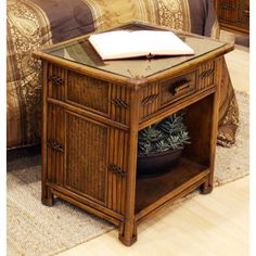 Hospitality Rattan 710-5272-ATQ Polynesian One Drawer Nightstand in Antique