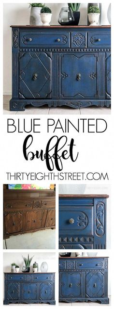 Blue Painted Buffet Makeover Stunning furniture makeovers using color Blue Painted Furniture Ideas Before and After Furniture Chalk Painted Furniture DIY Furniture Ideas Blue Painted Furniture, Painted Buffet, Refurbished Furniture, Repurposed Furniture, Furniture Makeover, Diy Furniture, Furniture Design, Street Furniture, Bedroom Furniture
