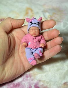 Collectible OOAK Doll Sculpt Polymer Clay 3 in with stroller Small Baby Dolls, Realistic Baby Dolls, Cute Baby Dolls, Tiny Dolls, Ooak Dolls, Reborn Dolls, Reborn Babies, Barbie Kids, Baby Barbie