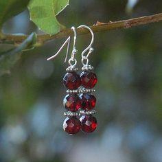 On Sale Garnet Gemstone Earrings DangleGift by LaughingDogStudio