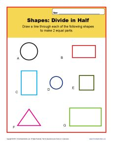 http://This worksheet asks your student to divide shapes into halves.