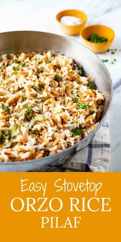 Dress It Up Or Dress It Down, This Easy 4 Ingredient Rice Pilaf With Orzo Deserves A Place In Your Weekly Recipe Rotation This Simple Go With Everything Side Dish Beats Anything Out Of A Box Rice Side Dishes, Veggie Side Dishes, Side Dishes Easy, Side Dish Recipes, Food Dishes, Rice Pilaf With Orzo, Easy Rice Pilaf, Wheat Pasta Recipes, Orzo Recipes
