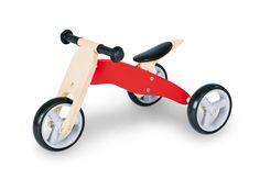 Das klar und rot lackierte Mini-Laufdreirad aus massiver Birke trainiert ganz ohne Stützräder Gleichgewicht, Reaktion und KoordinationDer 6-fach höhenverstellbare gepolsterte Sattel und die Umbaumöglichkeit vom Trike zum Laufdreirad zum Chopper und zum Laufrad machen 'Charlie'…