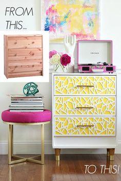 Fun DIY project: Take an Ikea Rast dresser and turn it into a fun MCM dresser.