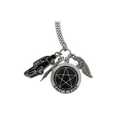 Supernatural Multi Charm Necklace Hot Topic (€7,69) ❤ liked on Polyvore featuring jewelry, necklaces, metal jewelry, chain necklaces, metal necklace, chains jewelry and multi charm necklace