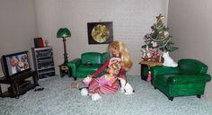 Barbie DIY CHRISTMAS RUDOLPH on TV Scale 1:6 Furniture Tree Dolls Dog Cat