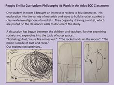 •	Emergent Curriculum •	Documentation •	The Image of the Child as active, competent learners and researchers •	The Role of the Teachers as facilitators, listeners, observers and collaborators in learning •	The Environment as a Third Teacher – Expanding learning through materials found in the classroom and on campus •	Process vs. Product – Developing skills of exploration, research, and creativity by allowing the process to be the important component, not the product