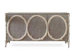 Elyse Savannah Linen Wrapped Buffet with Gesso Faux Bois Trim Savannah Linen Cabinet Has Cardinal Faux Suede Interior