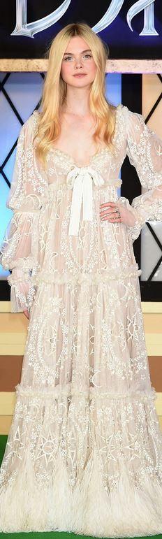Elle Fanning: Dress – Alexander McQueen  Shoes – Valentino  Jewelry – Cathy Waterman
