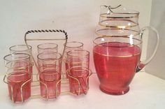 Rare! Vintage 50s Cranberry Gold Virginia Glass Striped Pitcher Tumblers Cup Set #WESTVIRGINIAGLASSCOMPANY