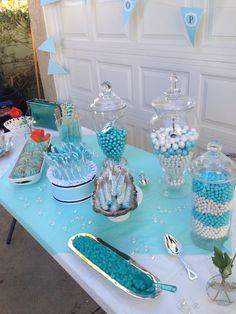 Tiffany blue baby shower. Candy bar