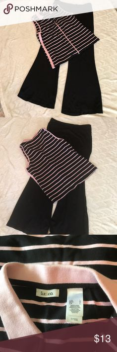 Zip front sleeveless pink & black top/vest Liz&co cute tapered top.  Can be worn by itself or as a vest.  There is a solid pink stripe down each side as well as a solid pink collar.  94% cotton, 6% spandex.  EUC.  Worn very little.  Non smoking, pet free home.   Listing is for top only, pants sold separately. Liz&co Tops Muscle Tees