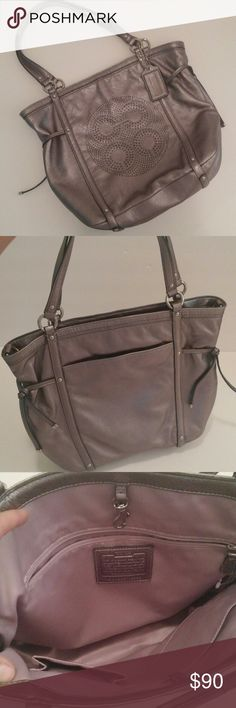 NEW!!! COACH NEVER WORN/USED!!!  SUPER SOFT SILVER LEATHER w PURPLE LINING. STILL HAS PLASTIC TAG & SECURITY SENSOR W INSTRUCTION CARD IN THE POCKET.  *Missing long strap but if found will ship it out later Coach Bags Totes