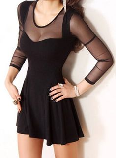 Sexy Black See-Through Gauze Spliced Long Sleeve Bodycon Dress For Women