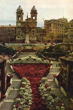 The Spanish Steps Italy. Walked them every day. Wish we were there.