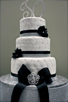 Bling Cake for Dance Team. Could be for Wedding as well. Black and White with plenty of Sparkle!