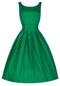 Lindy Bop 'Lana' Vintage 1950's Inspired Green Party Swing Dress (XS, Medium Green)
