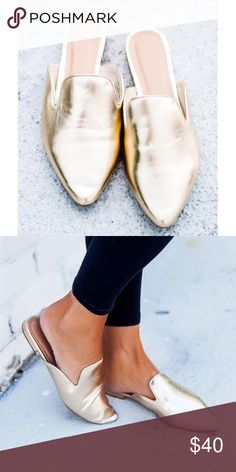 NIB Gold Pointed Slides + New in box + Adorable metallic gold faux leather slides with pointed toe. + These run true to size {women's size 7} + Smoke free and pet free home 🏡 + NO TRADES 🚫  ✨ If you would like any additional photos or if you have any questions... please let me know! Shoes