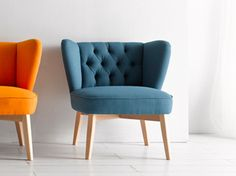 Tufted upholstered fabric easy chair MALIK | Tufted easy chair - Altinox Minimal Design